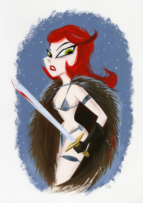 A small Red Sonja gouache painting from last night.