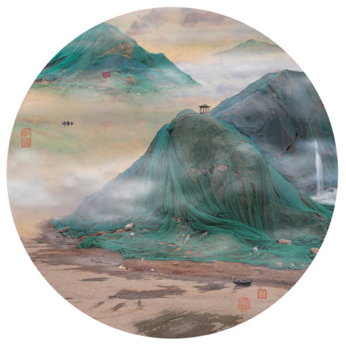 Picturesque Chinese Landscapes are Actually Disguised Photos of Landfills | Colossal Take a few steps back or perhaps just squint your eyes and these images by artist Yao Lu might resemble traditional Chinese landscape paintings of cliffs, waterfalls, and mountains. Look a bit closer and your perspective may change. Lu digitally assembles each of her images using photographs of landfills and other aspects of urbanization draped in green mesh to mimic idyllic scenery.  (via fashionable-nonsense)