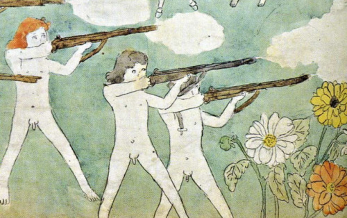 luxnoxlex:  HENRY DARGER I don't really care for contemporary outsider art. I find most of it not sophisticated enough. I'm not talking about refinement here, I'm referring to the amount of work put into one specific artistic direction. Most of the time, folk art feels like a hobby gone wrong: it's crafty, it takes itself seriously in a good way, but there's not much to it. But some of these artists who haven't taken a conventional path in their craft have a different story. They're possessed by something bigger than themselves. They spend a lifetime digging one specific hole. Obsession. Dedication. That's only then that I get interested. Henry Darger's world might be the most striking: a recluse, Darger (1892–1973) never showed his work to anyone. He never got a formal artistic education, but his universe is so creative, colorfoul and rich that I feel one could spend years studying it. One of the reasons that makes his work so compelling might be because it's quite narrative - his work is composed of several hundred illustrations of a 15,000 page novel. It's like an epic saga with bigger than life creature (the Vivian girls), who fight evil and try to stick together. Except everything is a little twisted and strange and medieval in an unrepressed way: little girls with penises or with horns, giant tornados, etc. I just saw some of his work in an exhibition in Paris and the scale of it (the sheer size of the panels, the quantity, but above all the quality) is absolutely amazing.