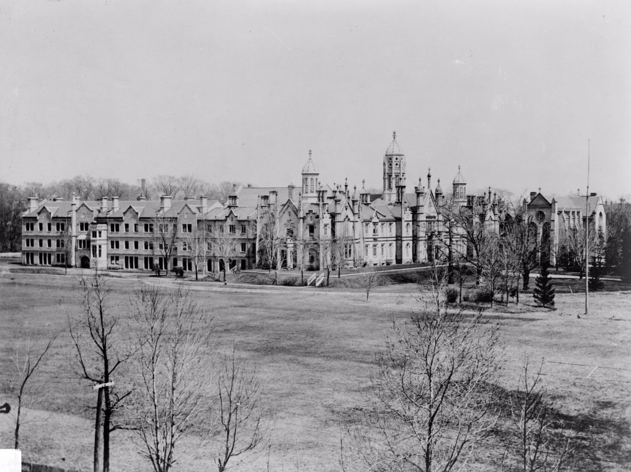 "fuckyeahtoronto:  Kivas Tully's original Trinity College, 1890.  ""On October 1, 1904, Trinity became part of the University of Toronto and relinquished to the university its authority to grant degrees in subjects other than theology. It became clear that the relocation of Trinity closer to the university was necessary, and the college abandoned plans for a northward expansion at its Queen Street site. The college acquired its present property near Queen's Park at the university grounds in 1913, but construction of the new college buildings, modeled after the original buildings by Kivas Tully, was not completed until 1925 due to World War I. The former site of the college became Trinity Bellwoods Park.""  I wish Trin was still on Queen west!"