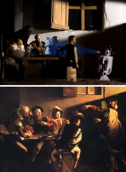 I have to reblog this since Caravaggio is one of my favorite painters. thedailywhat:  Fan Art of the Day: Star Wars Retold Through Famous Artworks   Image Description: Based on The Calling of Saint Matthew (shown bottom left), painted by Michelangelo Merisi da Caravaggio in 1599.