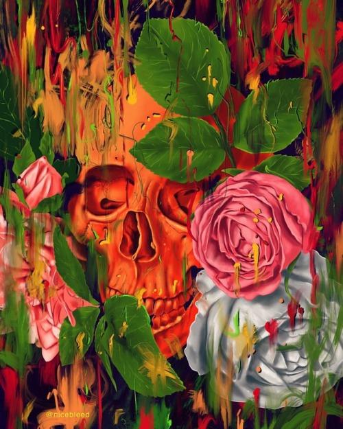 florals nicebleed painting skull digitalart