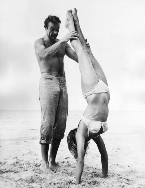 Ursula Andress and Sean Connery on the set of Dr. No.      …reading this book as we speak