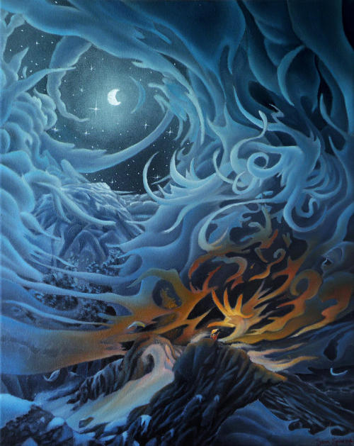 2headedsnake:  Sam Spinosa Appearance of the Night Goddess oil on canvas