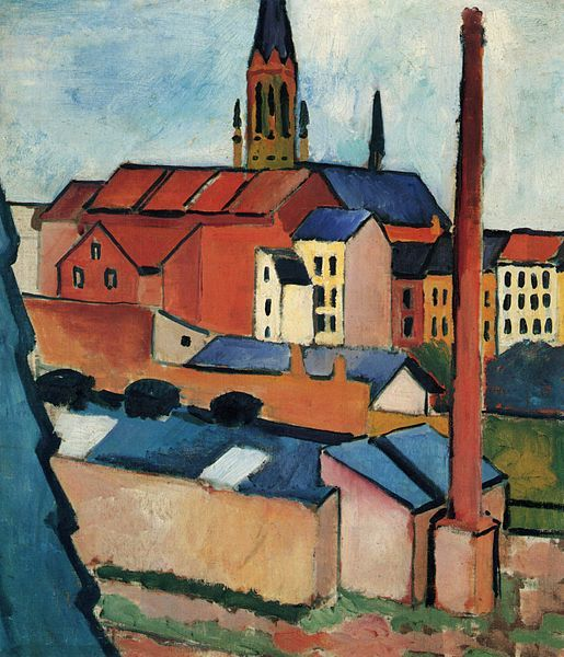'St. Mary's with Houses and Chimney (Bonn)' August Macke