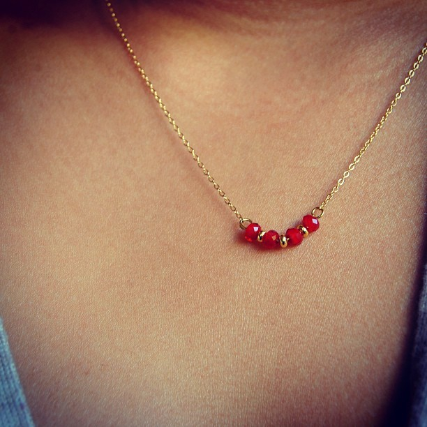 Dangly little ruby gems! Use promo code: VDAY14 for a 10% off your purchase! Make her feel special. 🌹😘 #jewelry #vday #gifts #her #forher #necklace #gold #capricornhoney #dainty #armcandy #instafashion #fashion #etsy #craft #handmade
