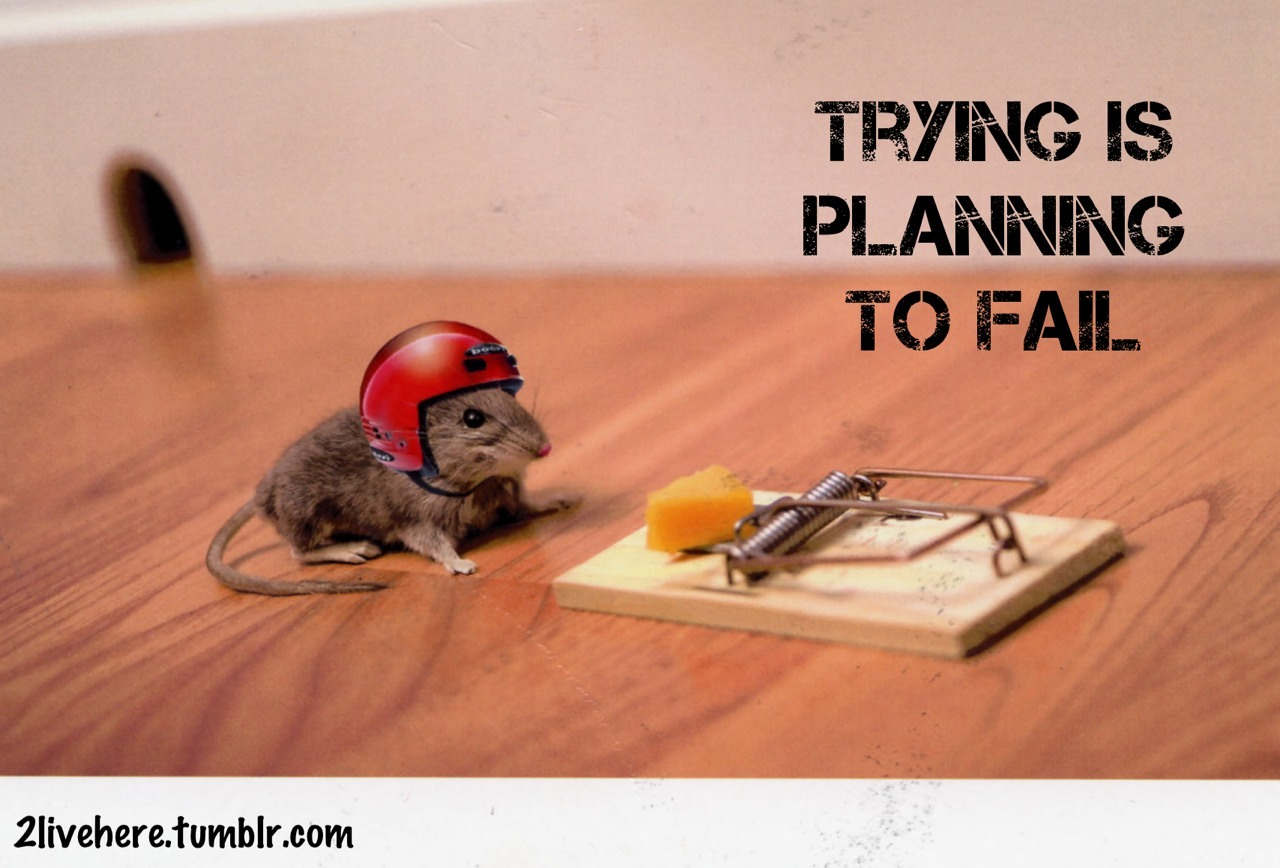 Trying is planing to fail.