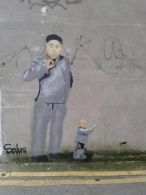 Dr. Evil Kim Jong-Un Mashup Graffiti He finally found his weapon of mass destruction.