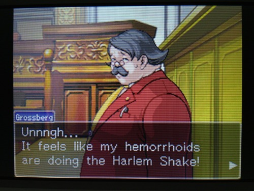 jeego:  phoenix wright: ace attorney - trials and tribulations came out 6 years ago and this case in the game is based in early 2013 grossberg, using his horrible dark hemorrhoid magic, predicted the future