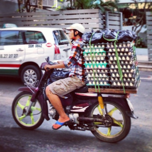 alexjcampbell:  Imagine the skill needed to navigate Saigon traffic while carrying a thousand eggs on the back of your motorbike  Egg-celent!!