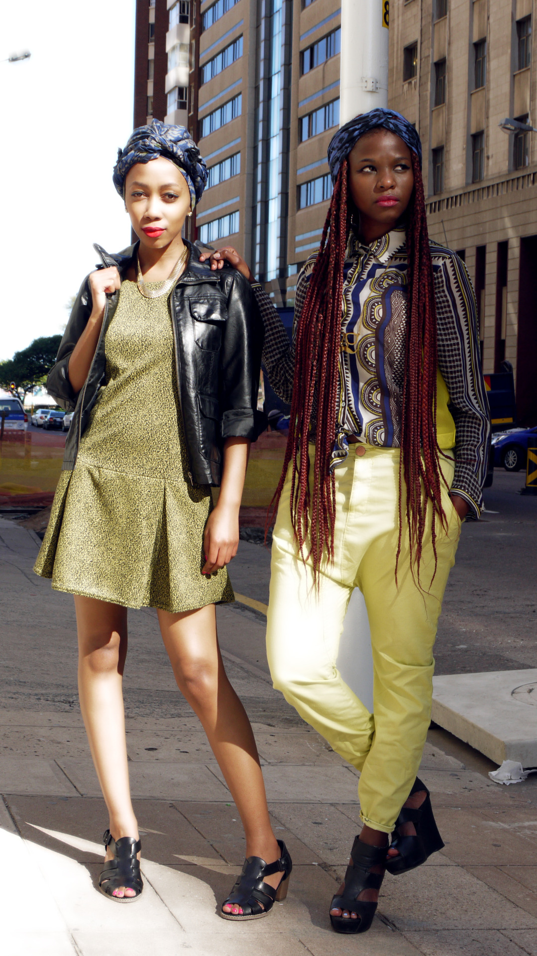 blackfashion:    DURBAN WINTER stylist: Selloane (BLKPEACH)photographer: ThandaModels: Teniel x SelloaneClothes: stylist + Model ownedlocation: Durban, South Africa #WinterTrends #PrintedTurbans #Gold #RedLips #pinkLips #winterdress #LeatherJacket #BrightChinos #PrintedSheerShirt