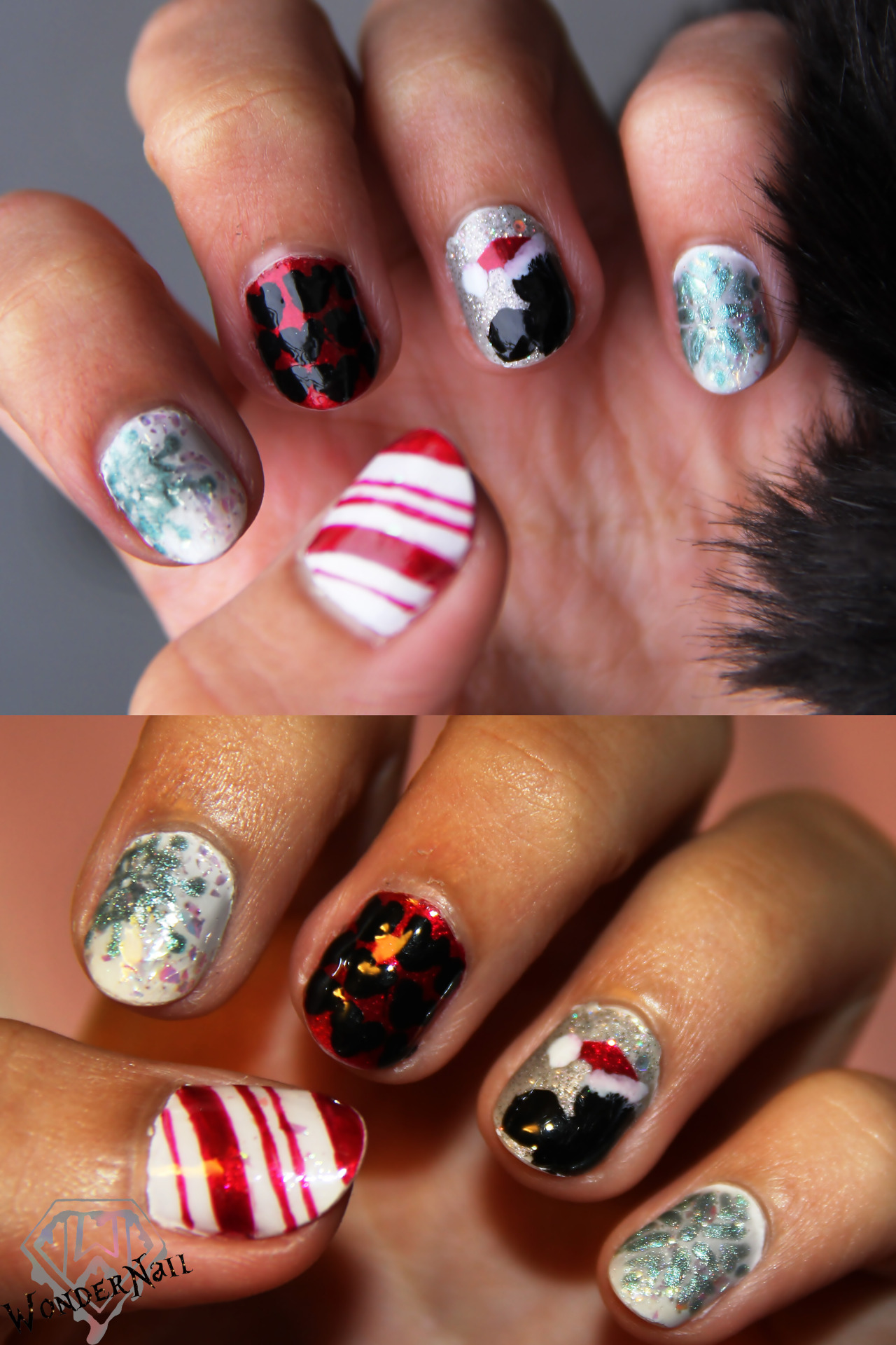 late christmas nail art. mickey mouse + xmas, with and without the flash. (: