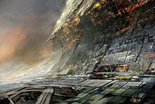 "cyberpunklove:  randomghost:  Concrete Tsunami by Daniel Dociu  ""The escalation of our technological prowess was matched only by the escalation of our arrogance. In a vain effort to mock gods we didn't believe existed, and a mother nature we believed we had conquered, we modeled our architecture after natural disasters that had once caused humanity such hardships. Little did we know how soon we were to be shown how little we had conquered."" - June 3, 2283 ""Veritas Amara Libertas"" - Truth is a bitter freedom."