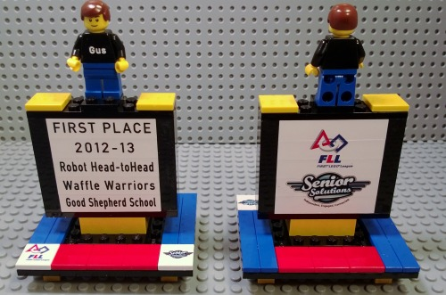 Trophies that we did for the Waffle Warriors FLL Team at the Good Shepherd School. Congrats on a great FLL season!!!