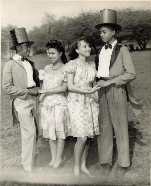 YOUNG LADIES & GENTS | 1940S-50s Two girls and two boys wearing matching clothing, posed in park. Credit: Charles Teenie Harris, photographer. Teenie Harris Photograph Collection, 1920-1970, Carnegie Museum of Art via Black History Album, The Way We WereFollow us on TUMBLR  PINTEREST  FACEBOOK  TWITTER