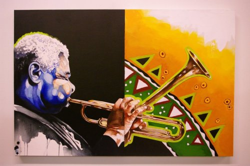 This Dizzy Gillespie portrait became an instant fave, the day I was introduced to the work of James Gayles via a friend who works with the Bay Area painter and illustrator at the Ethnic Arts Institute. Of the many brilliant homages to jazz figures that Gayles has created, this particular work sees the transformative power of the artist's journey come through as expressively as a Bebop riff.