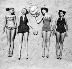 fewthistle:  Cruel Summer. Sunbathers. 1950's. Photographer: Nina Leen   Babes in big bikinis