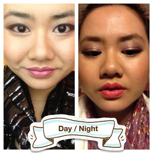 I did opposite makeup, darker lips for day and brighter lips for night. MAC Up The Amp and MAC Force of Love lipsticks. Urban Decay Glinda Palette for eyes. #mac #maccosmetic #lipstick #lipglass #makeup #cosmetic #urbandecay #palette