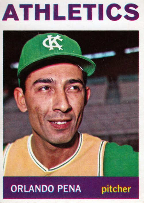 Random Baseball Card #2358:  Orlando Pena, pitcher, Kansas City A's, 1964, Topps.