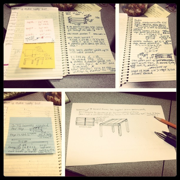 So many notes for one little table #buildingthings #picstitch