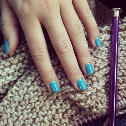 Knitting and freshly manicured nails. Meeting @imthecurse soon for lunch!