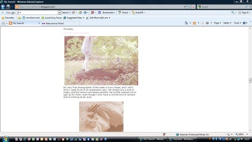 Oh French Blog:   I have just been featured in this lovely ladies blog, as her photographer of the week. I didn't know this until today and its really made my day. Please see: www.ohfrench.blogspot.com/ Today hasn't been a good day, a dog ran in front of my car and I drove over it today. Never been so shook up in my life. Was horrid. I cant not explain how sad its made me, the dog was alive and the owner took it to the vet, not sure what happened from there. I hope he is ok.