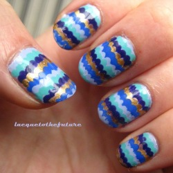 Blue ruffly nails. You can find details about the polishes I used for this mani on my blog!