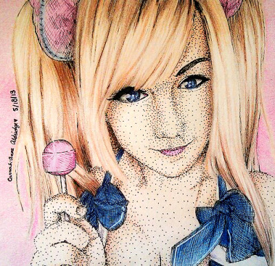 carrah1995:  New drawing for Abi-pop~ She is cosplaying as Juliet from Lollipop Chainsaw! ^O^ Her Tumblr: http://abi-pop.tumblr.com My Facebook: https://www.facebook.com/CarrahsWorldOfArt?ref=hl  I'm crying~~!! IT's so perfect bdsuigsufghdiuf Carrah is amazing at art x3 I love her <3