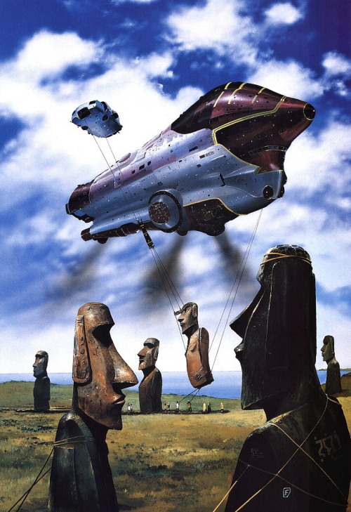 sciencefictiongallery:  Chris Foss - Easter Island, 1988.