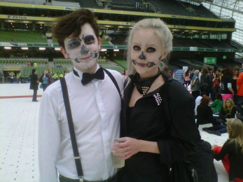 me and my friend at lady gaga's born this way ball in dublin. literally one of the best nights ever