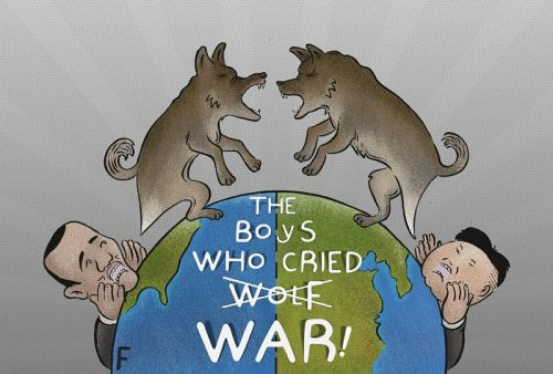 "The boys who cried wolf! - http://www.cartoonmovement.com/cartoon/9607 - The call to war depicted using one of Aesop's Fables, ""The Boy Who Cried Wolf""."