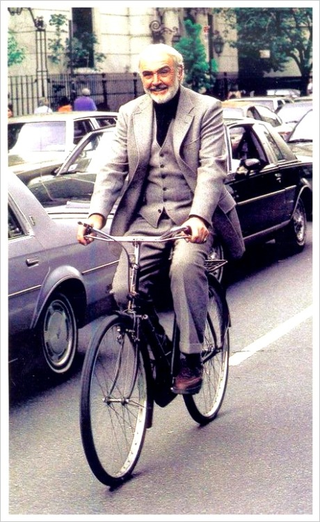 HAPPY FRIDAY. RIDE YOUR BIKE THIS WEEKEND. Like Mr. Connery up there. This would've been more timely had I posted it a month or so ago, but whatever. Some James Bond gags, coming right up. First up, one of my favorite bikes ever. The Waterford track bike in…wait for it…Goldfinger. Then, a little piece on Bond-esque bikes. And to cleanse the palate (with fresh bile from one's gut), here's a less-than-flattering photo gallery of Sean. You're welcome.