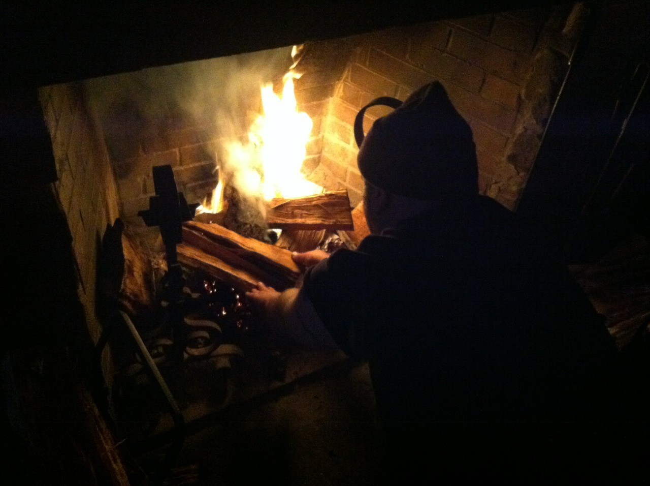Jay building the fire at the James Gate
