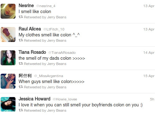 """I love it when you can still smell your boyfriends colon on you""   Sounds like one freaky ass night."