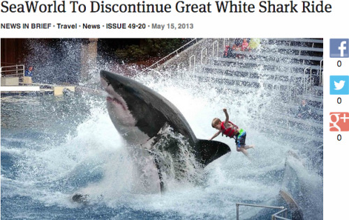 theonion:  SeaWorld To Discontinue Great White Shark Ride: Full Report