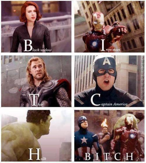 comic-view:  satanlikescatswbu:  haha   Avengers bitch !