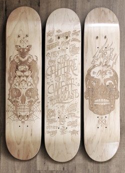 Laser Etched Skateboard Series 2013 by Malte Schweers