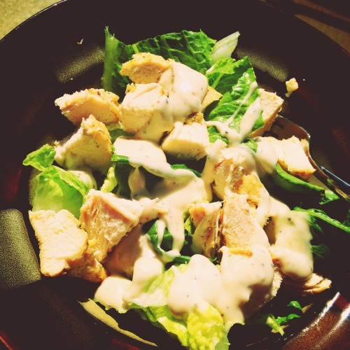 Chicken Caesar salad :) with Sanya at Frescura Residence – View on Path.