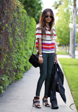 what-do-i-wear:  Blouse: 10 Crosby Derek Lam  |  Jeans: J Brand  |  Heels: Sigerson Morrison (cute ones here and here)  |  Bag: Rebecca Minkoff |  Ring Bracelet: Gabriela Artigas (image: sincerelyjules)