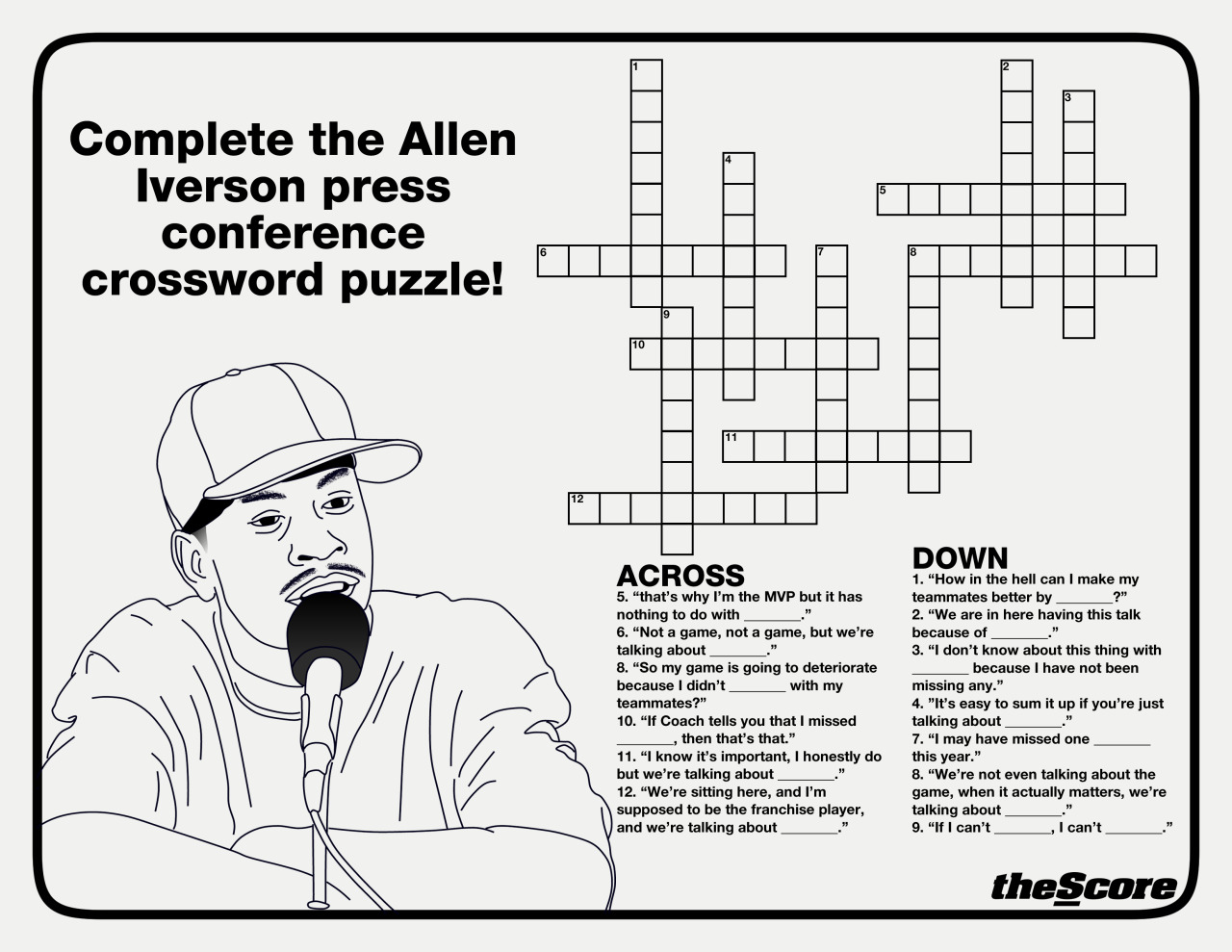 Photo: The Allen Iverson Crossword Puzzle. Just one of the many awesome activities in the 2012 theScore Sports Activity Book. You can see it all here. Or download the PDF here.