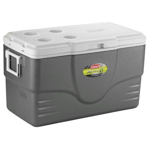 "Coleman Xtreme® Series Coolers  The Coleman company manufactures a line of high performance coolers that they claim will keep ice frozen for 5 or 6 days in 90°F ambient temperatures, depending on which model you purchase.  The cooler pictured, above, is the 58 quart Xtreme6 model that we own. It has since been renamed in the Coleman lineup as the ""Ultimate Xtreme,"" while the 5 day versions are now simply called the ""Xtreme"" models.   There's both good and bad to these coolers but, overall, I think they're well worth owning.  The Good: • they actually do what they claim • they're available in a multitude of sizes • the interior bottom actually slopes to the drain for easy water removal  The Bad: • they have the dreaded cheap Coleman hinges that break easily. Fortunately they're inexpensive, easy to replace and readily available wherever coolers are sold. • the handles have a nasty habit of popping out of their anchor points at the most inopportune times, causing the cooler to fall on your toes. When this happens you will scream every dirty word you know and invent a few new ones, to boot.  Many owners remove the handles and replace them with rope handles. Simply run two ends of a short rope through each anchor point and knot. Problem solved.  So how good does this cooler work?  I usually travel with frozen meat— whole chickens, steaks, corned beef briskets, etc.  When we use our thermoelectric cooler all the meat is reasonably thawed by the third day of our trip.  The first time we traveled with our Xtreme6/Ultimate Xtreme cooler, however, all the meat was still frozen solid on the fifth day. I actually had to start thawing them in pots of water before I could cook any of it.  That's what won me over.  The little bit extra that you'll pay for this cooler will be quickly made up for by the ice that you won't have to purchase.  It's an ice miser.  This 58 quart cooler holds 75 cans of soda— over three cases— so it's great for ballgames, as well.  For those who prefer to make their ice on-the-go, check out this post on portable icemakers. You can easily make enough ice— in your vehicle— to keep your cooler xtremely cold at all times.  Exterior Dimensions:  29 in. x14 in. x18 in.  (73.7 cm x35.6 cm x45.7 cm)  Interior Dimensions:  23.5 in. x9.5 in. x 13.5 in.  (59.7 cm x24.13 cm x34.3 cm)  Made in the USA   -thrillin'boutthechillin'chelle"