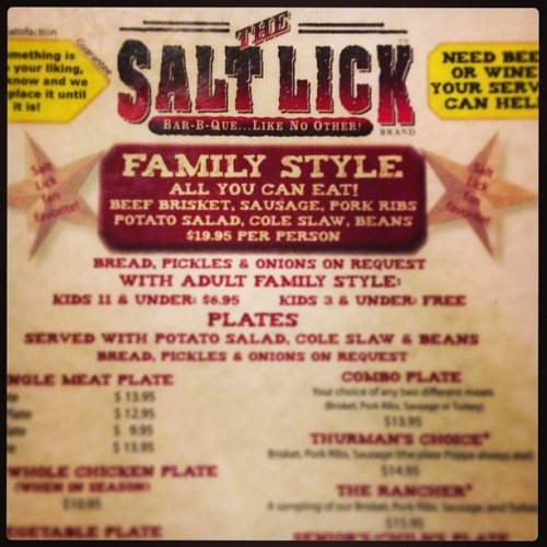Bar-b-q #allmyexesliveinTexas (at The Salt Lick)