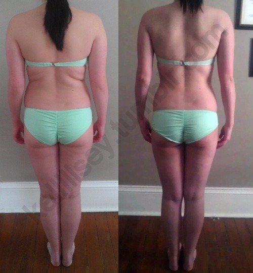 kelllllsey:  Left is 158lbs on February 27th, 2013 Right is 148lbs April 18, 2013 10 pounds lost in 7 weeks!