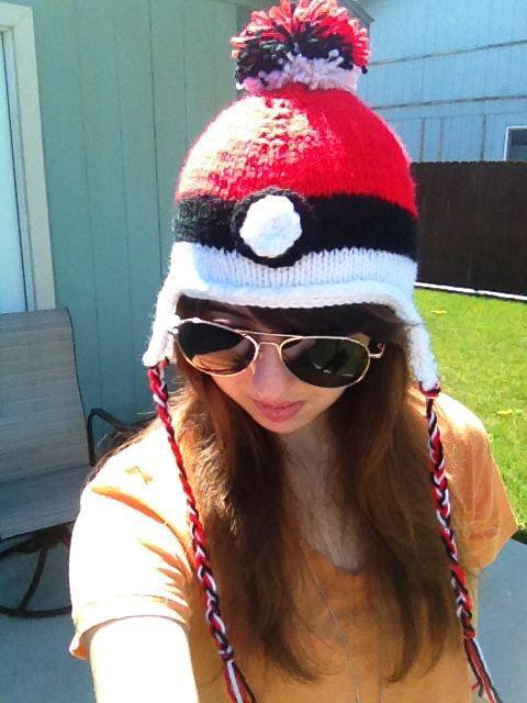 I knitted another Pokeball hat! The pompom on top even looks like a Pokeball! This is also part of my Etsy shop review package for Manda31409! I just have to finish up a couple more items, and then I can send it off! I am also making these to sell, so if you are interested, links are below!  Enjoy! -Links-Etsy: https://www.etsy.com/shop/TheKnittedPandaFacebook: https://www.facebook.com/TheKnittedPandadeviantART:http://theknittedpanda.deviantart.com/I take custom orders! Email at TheKnittedPanda@gmail.com for inquiries!