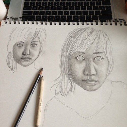 self portrait practice sketches