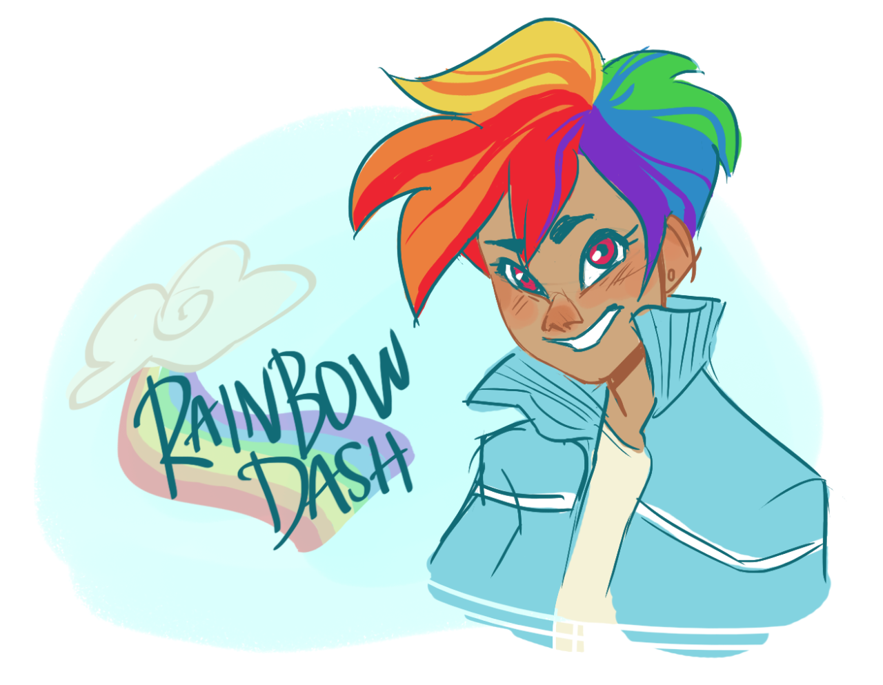 madithefreckled:  and then suddenly I drew human rainbowdash