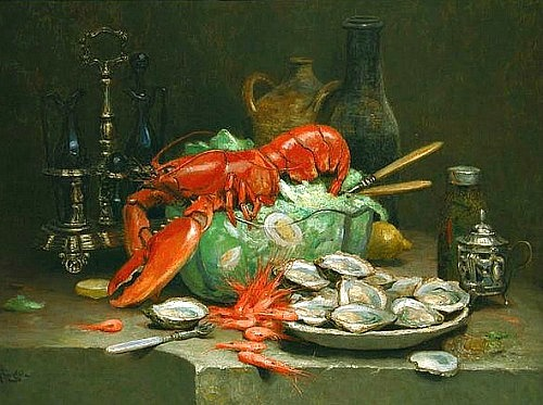 Desire Alfred Magne  Lobster, Prawns and Oysters with a Salad Late 19th - early 20th century