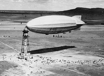 Airship at docking mast.