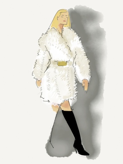 Last day of New York Fashion Week! Our team live sketched the Calvin Klein runway show earlier today. Tonight we head to Marc Jacobs at 8pm ET. Follow along at wwdonpaper. via wwdonpaper  Calvin Klein Fall 2013 Snow alpaca cutout detail overcoat. Black stretch vinyl oversized welt boot. Gold oversized military roller belt.