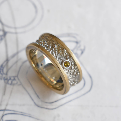 custom white & yellow gold ring with yellow & white diamonds by J ALBRECHT DESIGNS